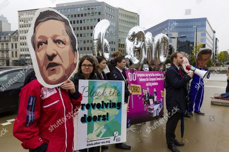 Activists Dressed As Former Former Commission President Jose Manuel Barroso Wearing Jumpsuits Calling For Urgent Reform of the Revolving Doors Rules in Front of Eu Commission Headquarters in Brussels Belgium 12 October 2016 Earlier in the Day a Group of Employees of the European Institutions Presented a Petition of 151 000 Signatures Called #ethics4eu at the Eu Commission Headquarters in Brussels the Petition Called For a Suspension of Pension Rights to Former European Commission President Jose Manuel Barroso For Taking a Job at Us Bank Goldman Sachs As Advisor and Non-executive Chairman of Its International Business Belgium Brussels