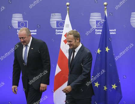 President of Georgia Guiorgui Margvelachvili (l) is Welcomed by European Council President Donald Tusk Prior to a Meeting in Brussels Belgium 08 June 2016 Later on 08 June 2016 Georgian President Will Also Visit Nato Headquarters Belgium Brussels
