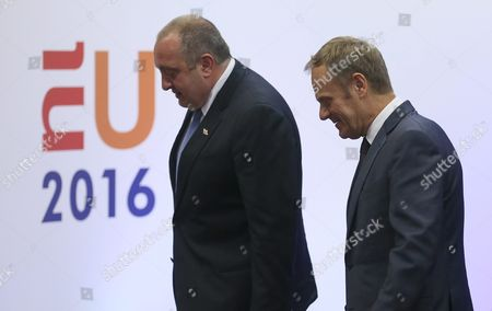 Stock Photo of President of Georgia Guiorgui Margvelachvili (l) is Welcomed by European Council President Donald Tusk Prior to a Meeting in Brussels Belgium 08 June 2016 Later on 08 June 2016 Georgian President Will Also Visit Nato Headquarters Belgium Brussels