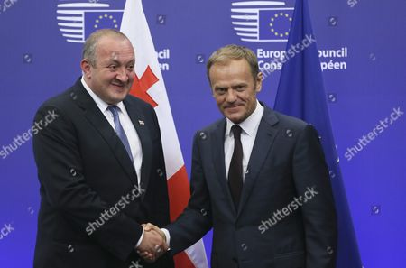 Stock Picture of President of Georgia Guiorgui Margvelachvili (l) is Welcomed by European Council President Donald Tusk Prior to a Meeting in Brussels Belgium 08 June 2016 Later on 08 June 2016 Georgian President Will Also Visit Nato Headquarters Belgium Brussels
