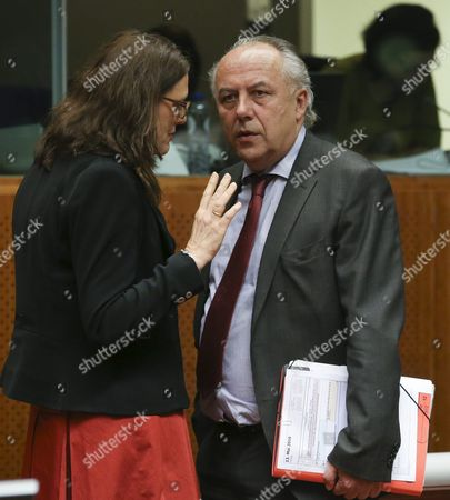 European Commissioner For Trade Cecilia Malmstrom (l) and German State Secretary at the Federal Ministry For Economic Affairs and Energy Matthias Machnig (r) at the Start of a European Foreign Affairs Trade Ministers Meeting in Brussels Belgium 13 May 2016 the Eu Trade Ministers Are to Review Negotiations on Ttip with the Us and to Discuss a Ceta Draft to Be Signed at a Summit in October Belgium Brussels