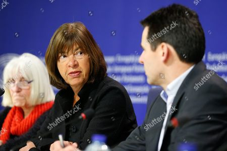 German Rebecca Harms Member of the European Parliament For Alliance 90/the Greens Addresses a News Conference at the European Parliament in Brussels Belgium 14 January 2016 the Press Conference was About the Evaluation of Safety Risks of Nuclear Power Plants Doel and Tihange Belgium Brussels