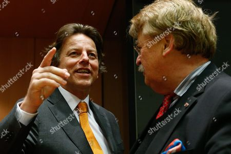 Dutch Minister of Foreign Affairs Bert Koenders (l) Reacts with Elmar Brok Chairman of the European Parliament Committee on Foreign Affairs at the European Parliament in Brussels Belgium 14 January 2016 Belgium Brussels