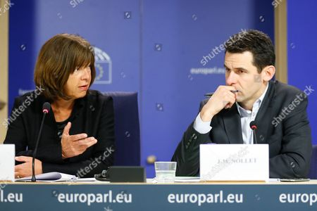Rebecca Harms (l) Member of the European Parliament For Alliance 90/the Greens and Walloon Minister For Sustainable Development Jean-marc Nollet Address a News Conference at the European Parliament in Brussels Belgium 14 January 2016 the Press Conference was About the Evaluation of Safety Risks of Nuclear Power Plants Doel and Tihange Belgium Brussels