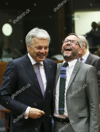 Belgian Foreign Minister Didier Reynders (l) and German Minister of State For European Affairs Michael Roth (r) During a Eu General Affairs Council Meeting in Brussels Belgium 24 May 2016 the General Affairs Council Met For Talks on the European Council Summit of 28 and 29 June 2016 Having the Brexit Referendum Topping the Agenda Belgium Brussels