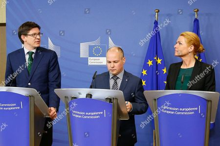 Stock Image of Swedish Minister For Justice and Migration Morgan Johannson (c) Danish Minister For Immigration Integration and Housing Inger Stojberg (r) and Parliamentary Secretary of State at the German Federal Ministry For the Interior Ole Schroder Attend a Press Conference at the Eu Commission in Brussels Belgium 06 January 2016 Johansson Stojberg and Schroeder Were Invited to Brussels to Discuss the Reintroduction of Border Controls Between Their Countries in Response to Heavy Migration Flows According to Media Reports Belgium Brussels