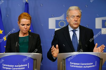 Eu Commissioner Dimitris Avramopoulos (r) and Danish Minister For Immigration Integration and Housing Inger Stojberg During a Press Conference at the Eu Commission in Brussels Belgium 06 January 2016 Swedish Migration Minister Morgan Johansson German State Secretary of the Interior Ole Schroeder and Stojberg Were Invited to Brussels to Discuss the Reintroduction of Border Controls Between Their Countries in Response to Heavy Migration Flows According to Media Reports Belgium Brussels