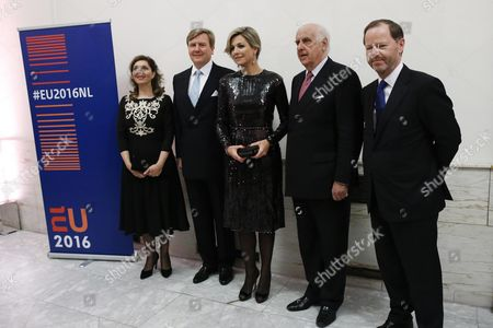 Dutch King Willem-alexander (2-l) and Queen Maxima (c) Dutch Ambassador Extraordinary and Plenipotentiary Permanent Representative to the European Union Pieter De Gooijer (r) Dutch Ambassador to Belgium Maryem Van Den Heuvel (l) and Bozar President Etienne Davignon (2-r) Attend a Concert Marking the Beginning of the Netherlands Presidency of the Council of the European Union at the Bozar Concert Hall in Brussels Belgium 22 January 2016 the Netherlands Will Hold the Presidency of the Council of the European Union From 01 January to 30 June 2016 Belgium Brussels