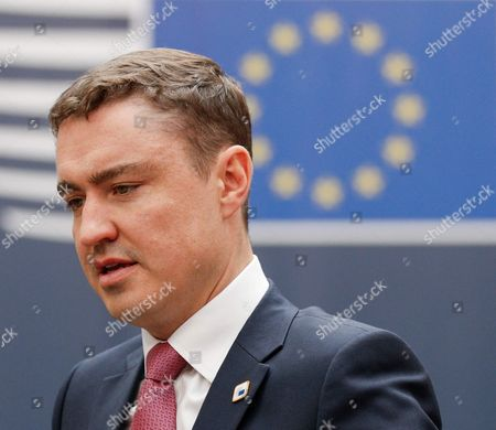 Estonia's Prime Minister Taavi Roivas on His Arrival For the European Summit in Brussels Belgium 20 October 2016 Eu Leaders Meet on 20 and 21 October to Discuss Migration Trade and Russia Including Its Role in Syria It Will Be Also the First Summit Attended by New British Prime Minister Theresa May Belgium Brussels