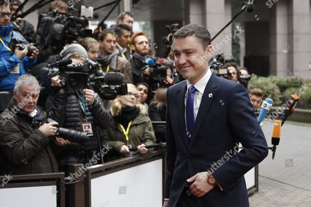 Estonian Prime Minister Taavi Roivas Arrives For the European Summit in Brussels Belgium 21 October 2016 Eu Leaders Met For a Two-day Summit to Discuss Migration Trade and Russia Including Its Role in Syria Belgium Brussels