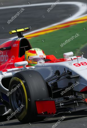 Spanish Formula One Driver Roberto Merhi of Manor Marussia F1 Team in Action During the Qualifying Session at the Spa-francorchamps Race Track Near Francorchamps Belgium 22 August 2015 the 2015 Belgium Formula One Grand Prix Will Take Place on 23 August Belgium Francorchamps