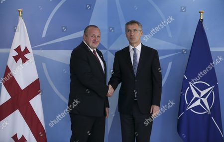 President of Georgia Guiorgui Margvelachvili (l) is Welcomed by Nato Secretary General Jens Stoltenberg Prior to a Meeting at Alliance Headquarters in Brussels Belgium 08 June 2016 Belgium Brussels