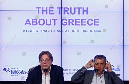 Guy Verhofstadt (l) Leader of Alliance of Liberals and Democrats For Europe (alde) Party and Stavros Theodorakis (r) Head of Greek Party to Potami Adress a Press Conference on the Greek Financial Crisis at the Residence Palace in Brussels Belgium 25 May 2016 Verhofstadt and Theodorakis Urged Greece's Creditors to Abandon Their Strategy on Greece Belgium Brussels