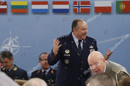 Supreme Allied Commander Europe Or Saceur Us General Philip Breedlove (l) at the Start of the 174th Military Committee in Chiefs of Defence Session at the Nato Alliance Headquarters in Brussels Belgium 21 January 2016 the Committee Will Talk on Natos Future Strategy As Well As the Consensus-based Military Advice and Guidance That Will Be Given to the North Atlantic Council and Defence Ministers in the Run Up to the Nato Summit in Warsaw in July 2016 Belgium Brussels