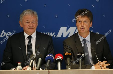 New Belgian Transport Minister Francois Bellot (l) and Mouvement Reformateur (mr) Party Chairman Olivier Chastel (r) Attend a Press Conference in Brussels Belgium 17 April 2016 Francois Bellot is Replacing Jacqueline Galant who Resigned From Her Post After a Report on Airport Security Following the Brussels Terror Attacks of 22 March Belgium Brussels