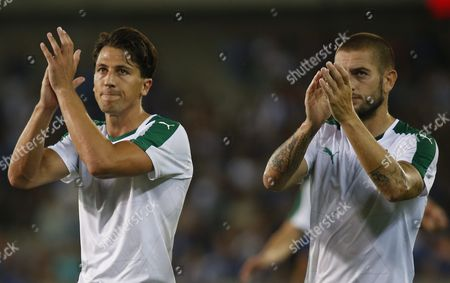 Panathinaikos' Jens Wemmer (l) and Panathinaikos' Mladen Petric (r) Thanks Supports After the Uefa Champions League Third Qualifying Round Second Leg Soccer Match Between Club Brugge and Panathinaikos Athens at the Jan Breydelstadion in Brugge Belgium 05 August 2015 Club Brugge Won 3-0 Belgium Brugge