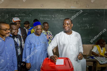 Benin Presidential Candidate Sebstien Ajavon Casts His Ballot in the Benin Presidential Elections in Cotonou Benin 06 March 2016 About 4 6 Million Voters Will Have the Choice Between a Record 33 Presidential Candidates the Front-runner is Prime Minister Lionel Zinsou 61 Though Some Voters May Hold His French Connections Against Him Other Top Candidates Include Cotton Magnate Patrice Talon Regarded by Many As Benin's Richest Man; Businessman Sebastien Alavon who Made His Fortune in the Food Industry; Former Premier Pascal Koupaki; and Abdoulaye Bio Tchane a Former Africa Director of the International Monetary Fund the Race was Expected to Be One of the Tightest Ever in Benin Which is Regarded As One of Africa's Most Solid Democracies Benin Cotonou
