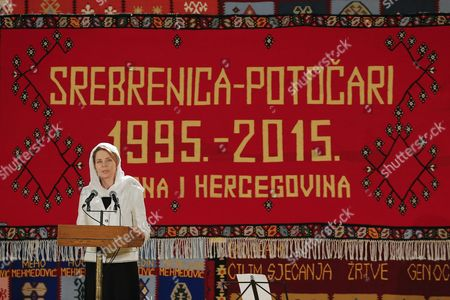 Queen Noor of Jordan Speaks at the Potocari Memorial Center in Srebrenica Bosnia and Herzegovina 11 July 2015 As 136 Newly-identified Bosnian Muslims Are to Be Buried As Part of a Memorial Ceremony to Mark the Anniversary of the Srebrenica Massacre July 2015 Marks the 20-year Anniversary of the Srebrenica Massacre That Saw More Than 8 000 Bosnians Men and Boys Killed by Bosnian Serb Forces During the Bosnian War on 08 July Russia Vetoed a United Nations Security Council Resolution That Would Have Labeled As Genocide the 1995 Massacre of Muslims in Srebrenica by Ethnic Serbs Bosnia and Hercegovina Srebrenica