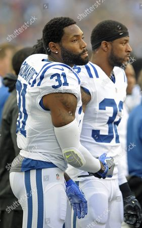 Indianapolis Colts Antonio Cromartie (l) Shakes Hands with T J Green (r) After Demonstrating During the Us Anthem Before the Nfl International Series American Football Match Between the Indianapolis Colts and the Jacksonville Jaguars at Wembley Stadium in London Britain 02 October 2016 United Kingdom London