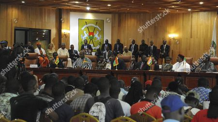 Burkina Faso Acting President Michel Kafando (3-r) Sits with African Leaders President of Ghana John Dramani Mahama (2-l) President of Benin Yayi Boni (3-l) and Nigerian Vice President Yemi Osibajo (r) in Ouagadougou Burkina Faso 23 September 2015 African Leaders Met in Burkina Faso to Assist with the Transfer of Power Following the Coup Last Week the Presidential Guard Headed by General Gilbert Diendere Agreed to a Deal Overnight with the Regular Army to Avoid Violence General Gilbert Diendere Siezed Power in a Coup Last Week at Least Ten People Have Been Reported Killed with Around 100 Injured During Protests Between Presidential Guards and Protestors Opposed to the Coup Burkina Faso Ouagadougou