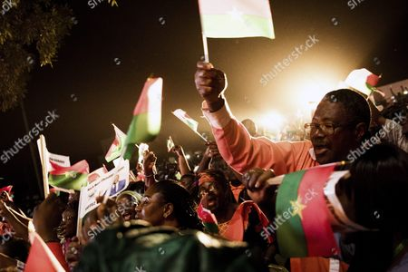 Stock Photo of Supporters of Roch Marc Christian Kabore (not Pictured) the Presidential Candidate For the People's Movement For Progress (mpp) Celebrate His Victory in the General Elections in Ouagadougou Burkina Faso 01 December 2015 This is the First Election in Burkina Faso After President Blaise Compaore was Forced From Office Last Year Which Sparked a Year of Political Uncertainty Burkina Faso Ouagadougou