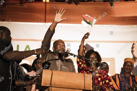 Roch Marc Christian Kabore (c) the Presidential Candidate For the People's Movement For Progress (mpp) Waves to Supporters As He Accepts Victory in the General Elections in Ouagadougou Burkina Faso 01 December 2015 This is the First Election in Burkina Faso After President Blaise Compaore was Forced From Office Last Year Which Sparked a Year of Political Uncertainty Burkina Faso Ouagadougou