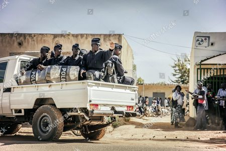 Burkina Faso Police Patrolling the Different Polling Stations to Ensure Security in the General Elections in Ouagadougou Burkina Faso 29 November 2015 Polls Opened in Burkina Faso's Presidential and Parliamentary Election on 29 November with Expectations High One Year After a Violent Public Uprising Forced the Long-time President out of Office It is the First Election in the Country After President Blaise Compaore was Forced From Office Last Year Which Sparked a Year of Political Uncertainty Thousands Are Expected to Vote to Elect a New President and Parliament with Roch Marc Christian Kabore and Zephirin Diabre Seen As Strongest Contenders For President Burkina Faso Ouagadougou