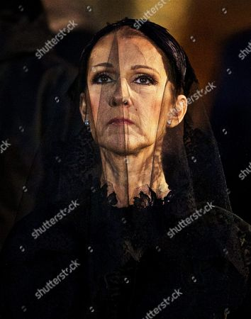 Stock Photo of Canadian Singer Celine Dion During the Funeral Ceremony For Her Late Husband Rene Angelil at the Notre Dame Basilica in Montreal Canada 22 January 2016 Canada Montreal