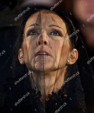 Canadian Singer Celine Dion During the Funeral Ceremony For Her Late Husband Rene Angelil at the Notre Dame Basilica in Montreal Canada 22 January 2016 Canada Montreal