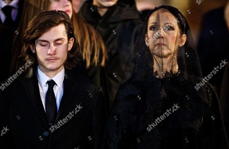 Canadian Singer Celine Dion and Her Son Rene Charles Stand in Front of the Coffin of Their Late Husband and Father Rene Angelil Outside of the Notre Dame Basilica in Montreal Canada 22 January 2016 Canada Montreal