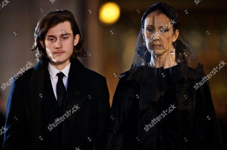 Stock Picture of Canadian Singer Celine Dion and Her Son Rene Charles Stand in Front of the Coffin of Their Late Husband and Father Rene Angelil Outside of the Notre Dame Basilica in Montreal Canada 22 January 2016 Canada Montreal