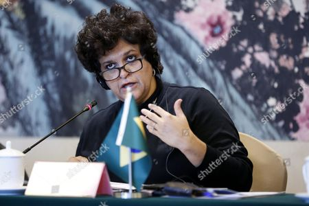 Brazilian Minister of Environment Izabella Teixeira Attends the 21st Basic Ministerial Meeting on Climate Change at a Hotel in Beijing City China 31 October 2015 Ministers From China India Brazil and South Africa Attended the Meeting to Talk About Climate Change Issues China Beijing