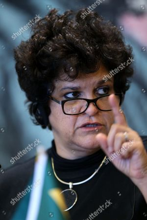 Stock Picture of Brazilian Minister of Environment Izabella Teixeira Attends the 21st Basic Ministerial Meeting on Climate Change at a Hotel in Beijing City China 31 October 2015 Ministers From China India Brazil and South Africa Attended the Meeting to Talk About Climate Change Issues China Beijing
