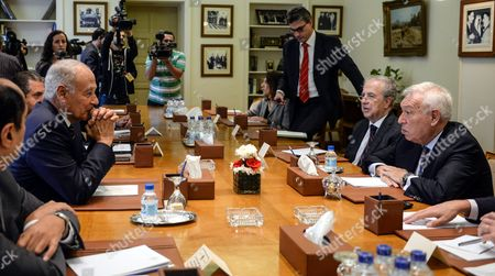 Spanish Foreign Minister Jose Manuel Garcia-margallo (r) Meets with Secretary General of the Arab League Ahmad Abu Al-gheit (l) at the Arab League Headquarters in Cairo Egypt 23 October 2016 Garcia-margallo is on a Two-days Official Visit to Egypt Egypt