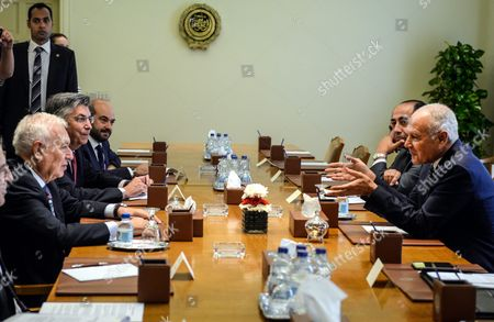 Spanish Foreign Minister Jose Manuel Garcia-margallo (l) Meets with Secretary General of the Arab League Ahmad Abu Al-gheit (r) at the Arab League Headquarters in Cairo Egypt 23 October 2016 Garcia-margallo is on a Two-days Official Visit to Egypt Egypt