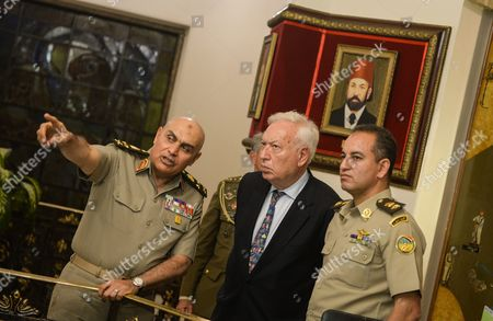 Spanish Foreign Minister Jose Manuel Garcia-margallo (c) During His Meeting with the Egyptian Minster of Defense Sedki Sobhi (l) at the Ministry of Defense in Cairo Egypt 23 October 2016 Garcia-margallo is on Official Visit to Egypt For Two Days Egypt Cairo