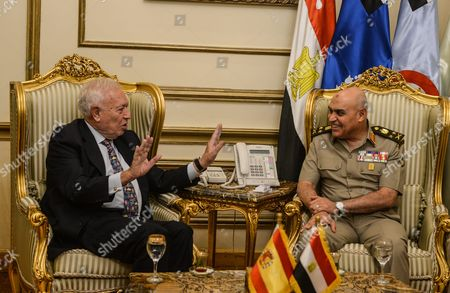 Spanish Foreign Minister Jose Manuel Garcia-margallo (l) During His Meeting with the Egyptian Minster of Defense Sedki Sobhi (r) at the Ministry of Defense in Cairo Egypt 23 October 2016 Garcia-margallo is on Official Visit to Egypt For Two Days Egypt Cairo