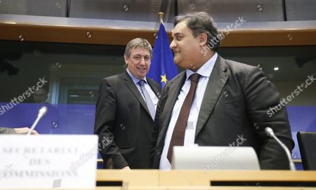 Belgian Interior Minister Jan Jambon (l) and Member of Eu Parliament Claude Moraes Attend a Hearing by European Parliament Committee on Civil Liberties Justice and Home Affairs in Brussels Belgium 25 April 2016 the Hearing Focused on the Terrorist Attacks of Brussels on 22 March and the Related Security Measures Taken by the Government After the Events Belgium Brussels
