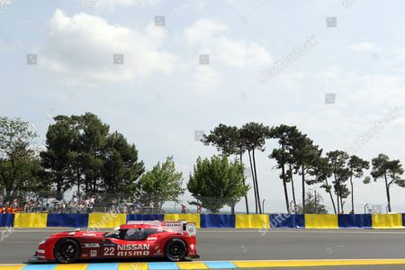 Stock Photo of Nissan Motorsports Ní23 in Nissan Gt- R Lm Nismo with Olivier Pla of France Jann Mardenborough of Great Britain and Max Chilton of Great Britain (f) Take Part in the Le Mans 24 Hours Race in Le Mans France 13 June 2015 the Race Started at 3pm a Day Earlier and is Scheduled to Finish at 3pm on 14 June France Le Mans