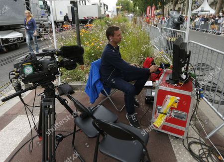Former Rider and Commentator Jens Voigt at the Finnish Line of Stage 5 of the 102nd Tour De France 2015 Cycling Race Amiens France 08 July 2015 Voigt is Commentating For the Us Network Nbc France Amiens