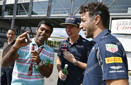 (l-r) Former Indian Formula One Driver Karun Chandhok Dutch Driver Max Verstappen of Red Bull Racing and His Australian Teammate Daniel Ricciardo Chat in the Paddock Ahead of the Japanese Formula One Grand Prix at the Suzuka Circuit in Suzuka Central Japan 06 October 2016 the 2016 Japanese Formula One Grand Prix Will Take Place on 09 October Japan Suzuka