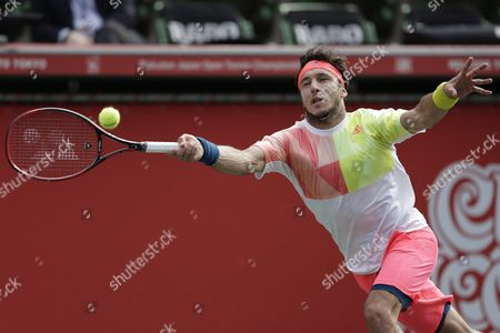 Juan Monaco of Argentina Hits a Return to Marin Cilic of Croatia During Their Men's Singles Quarterfinal Match at the Japan Open Tennis Championships in Tokyo Japan 07 October 2016 Japan Tokyo