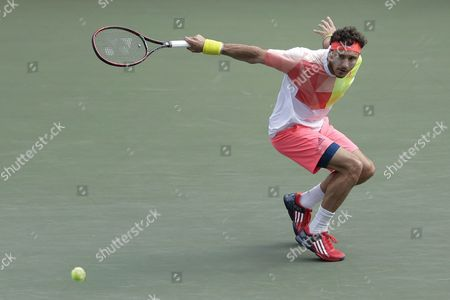 Juan Monaco of Argentina in Action Against Marin Cilic of Croatia During Their Men's Singles Quarterfinal Match at the Japan Open Tennis Championships in Tokyo Japan 07 October 2016 Japan Tokyo