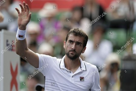 Marin Cilic of Croatia Waves After Defeating Juan Monaco of Argentina in the Men's Singles Quarterfinal Match at the Japan Open Tennis Championships in Tokyo Japan 07 October 2016 Japan Tokyo