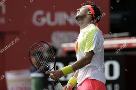 Juan Monaco of Argentina Reacts After Losing a Point Against Marin Cilic of Croatia During Their Men's Singles Quarterfinal Match at the Japan Open Tennis Championships in Tokyo Japan 07 October 2016 Japan Tokyo