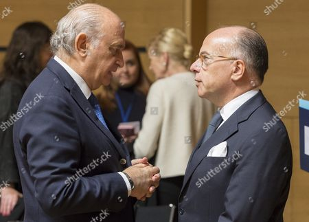 Spanish Minister of Interior Jorge Fernandez Diaz (l) and French Interior Minister Bernard Cazeneuve (r) at Justice and Home Affairs Council Meeting in Luxembourg 13 October 2016 the Council Will Discuss the Implementation of Migration Measures with the Aims to Identify the Main Gaps and Shortcomings and to Make the Appropriate Recommendations to Speed Up the Processes Ministers Will Also Asses the Implementation of the European Border and Coast Guard Luxembourg Luxembourg