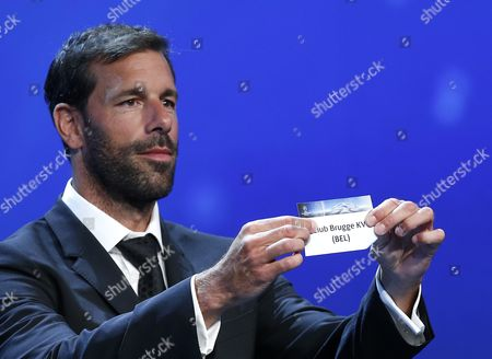 Former Dutch Soccer Player Ruud Van Nistelrooy Draws Belgian Club Brugge During the Uefa Champions League 2016/17 Draw at Grimaldi Forum in Monte Carlo in Monaco 25 August 2016 Brugge Will Play in Group G with Leicester Porto and Fc Copenhagen Monaco Monaco