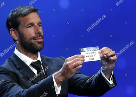 Former Dutch Soccer Player Ruud Van Nistelrooy Draws English Club Tottenham Hotspur Fc During the Uefa Champions League 2016/17 Draw at Grimaldi Forum in Monte Carlo in Monaco 25 August 2016 Tottenham Will Play in Group E with Cska Moscow Bayer Leverkusen and Monaco Monaco Monaco