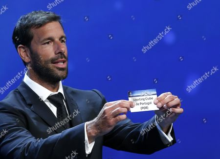 Former Dutch Soccer Player Ruud Van Nistelrooy Draws Portuguese Club Sporting Cp During the Uefa Champions League 2016/17 Draw at Grimaldi Forum in Monte Carlo in Monaco 25 August 2016 Sporting Cp Will Play in Group F with Real Madrid Borussia Dortmund and Legia Warsaw Monaco Monaco