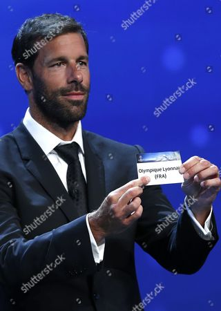 Former Dutch Soccer Player Ruud Van Nistelrooy Draws French Club Olympique Lyonnais During the Uefa Champions League 2016/17 Draw at Grimaldi Forum in Monte Carlo in Monaco 25 August 2016 Lyon Will Play in Group H with Juventus Sevilla and Dinamo Zagreb Monaco Monaco